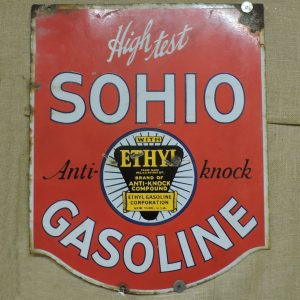 1930's Double Sided Porcelain High TestSohio Gasoline Sign