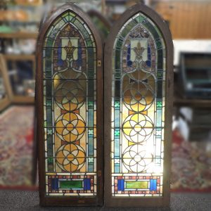 Antique Gothic Arch Stained Glass Windows