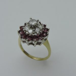 Women's 14 Karat Yellow & White Gold Ruby and Diamond Ring