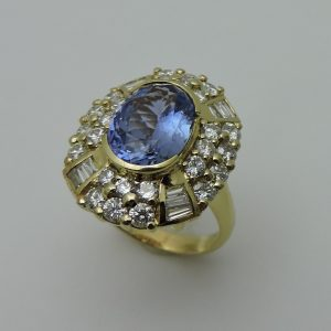 GIA Graded Women's 18 Karat Yellow Gold Ceylon Blue Sapphire Ring with Diamonds