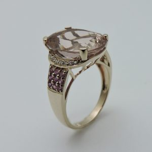 Women's 14 Karat Yellow Gold Morganite Ring with Diamonds and Rubies