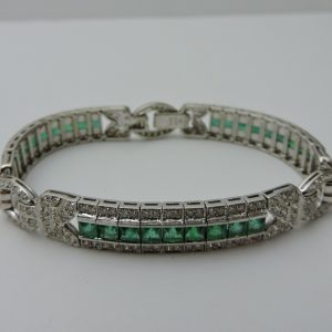 Women's 18 Karat White Gold Emerald and Diamond Bracelet