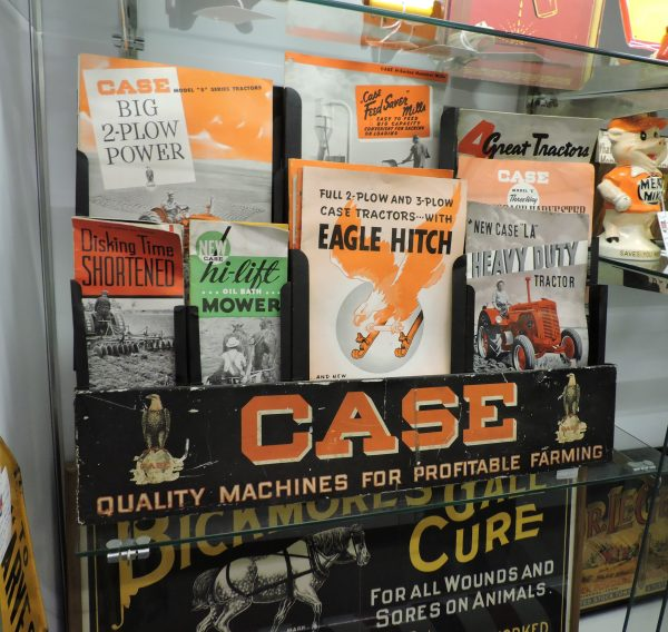 Early 1900's Case Farm Machinery Counter Display with Catalogs and Brochures
