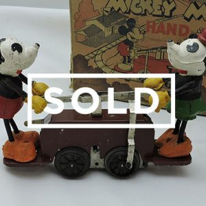 Maroon Color Mickey/Minnie Mouse Handcar with Box and Track