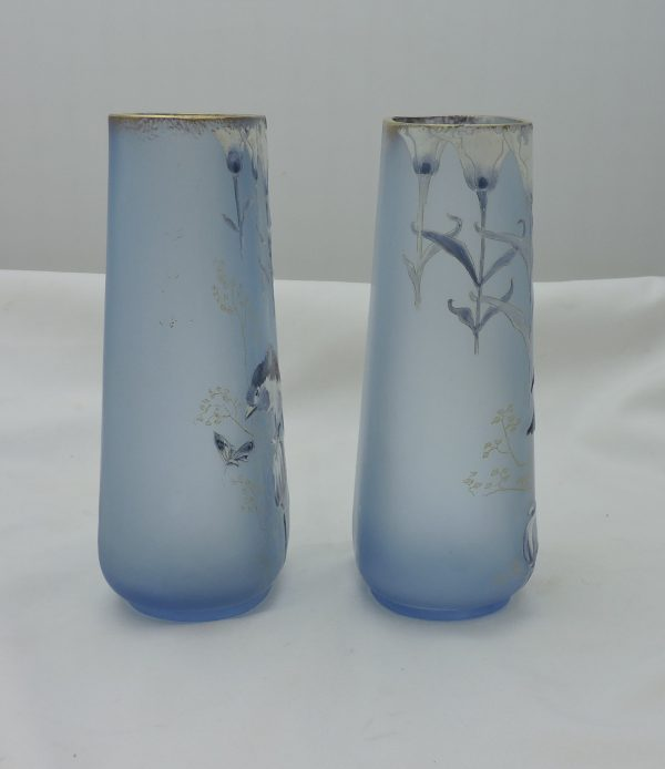 Pair of Art Glass Enameled Vases-Birds and Poppies