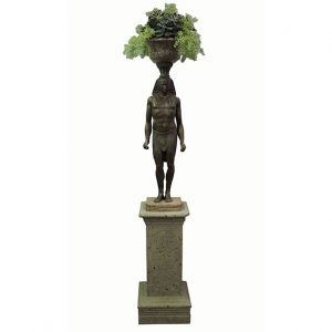 Bronze Egyptian Figure Statue Planter with Pedestal