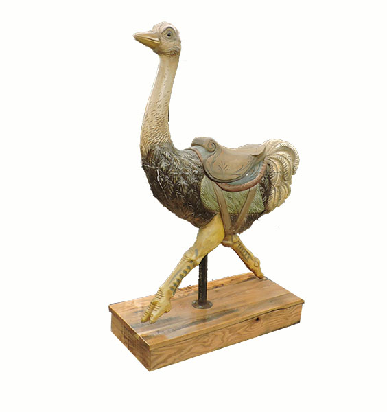1920's Menagerie Ostrich Wood Carousel