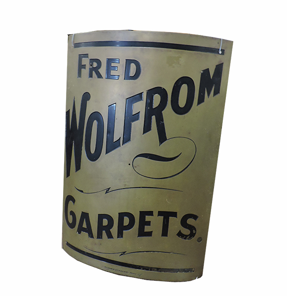 Vintage Curved Advertising Sign Fred Wolfrom Carpets