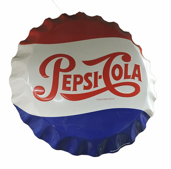 "26"" Round Pepsi Bottle Cap Sign"