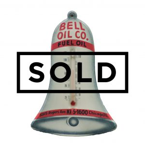 Vintage Bell Oil Company Bell Shaped Die Cut Tin Thermometer