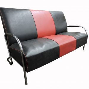 Mid Century Tubular Chrome Sofa - Black and Red