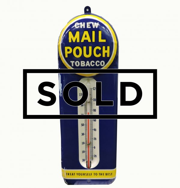 Vintage Chew Mail Pouch Tin Thermometer
