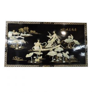 Carved Mother of Pearl Lacquer Plaque-Maidens and Lotus Pads