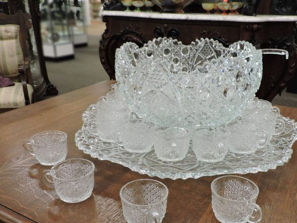 Cut Glass Punch Bowl with Tray, Ladle, and Cups
