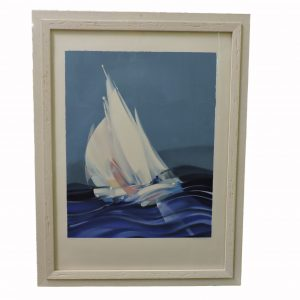 French  Litho of Sailboat with Artist Pencil Signed Alfred Defosser