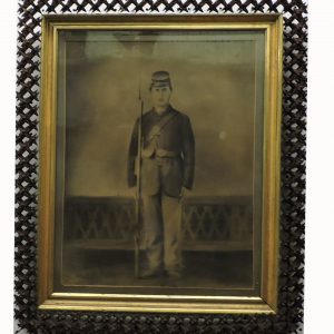 Charcoal on Canvas Civil War Union Soldier Art with Hand Carved Spike Frame