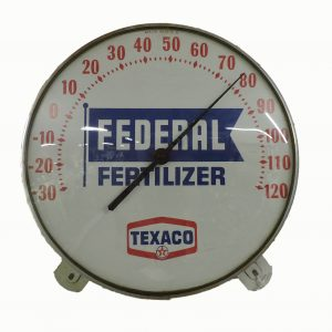Texaco Federal Fertilizer Round  Wall Thermometer