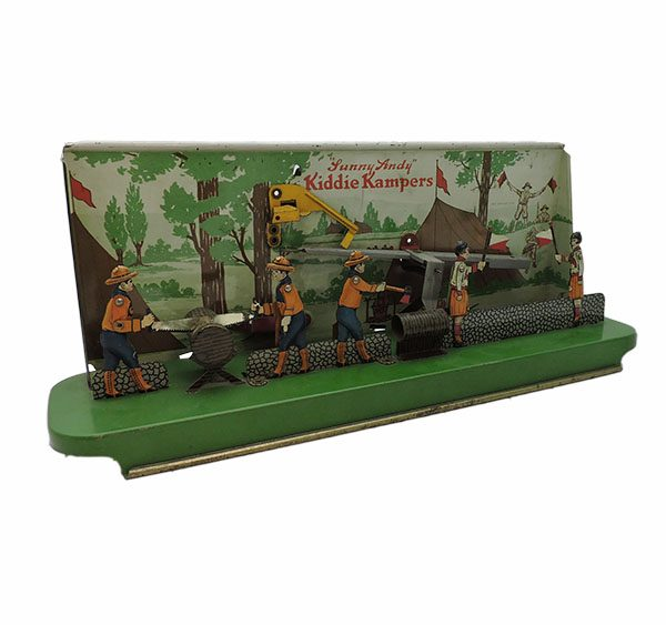 """""""Sunny Andy"""" Kiddie Kampers Tin Litho Toy"""