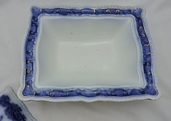 Flow Blue Covered Dish Mandarin Pattern