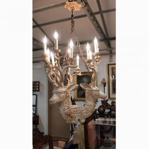 Wooden Deer Head Chandelier