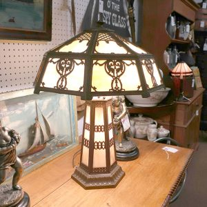 Lighthouse Type Slag Glass Lamp