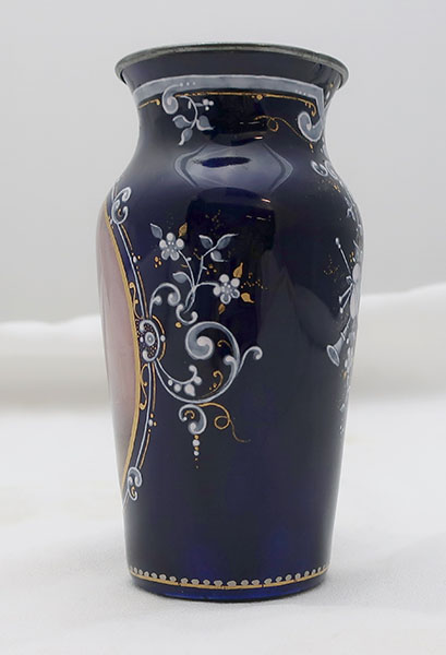 French Enamel Decorated Cobalt Vase with Actor