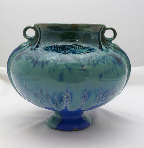 Blue/ Green Fulper 2 Handle Pottery Vase with Uncommon Shape