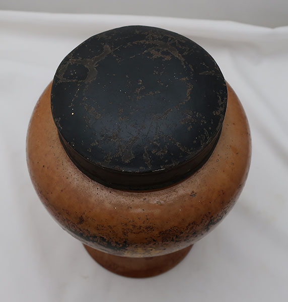 Early Painted Stoneware Shag Tobacco Jar with Tin Lid