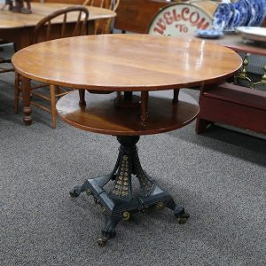 Round Game Table with Center Cast Iron Base