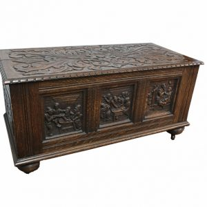 Carved Antique Wood Trunk