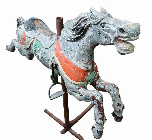 Cast Iron Carousel Horse with Stand