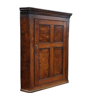 Antique Burl Elm and Walnut Corner Cabinet