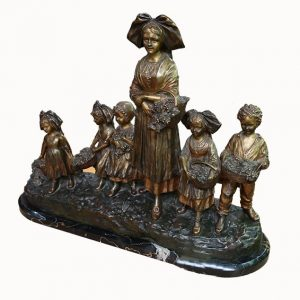 "Signed Joseph D'Aste Bronze Sculptural Group-""Grape Harvest"""
