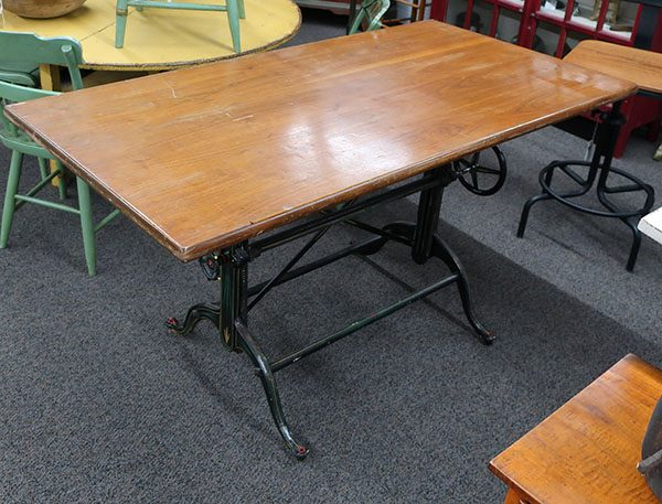 Antique Drafting Table-Cast Iron and Walnut