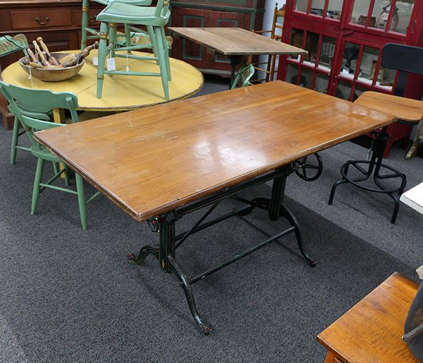 Antique Drafting Table -Cast Iron and Walnut