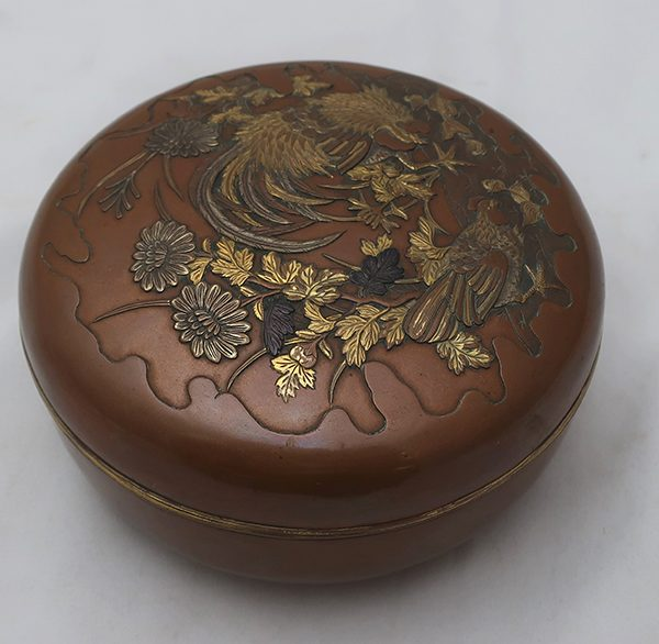 Round Japanese Mixed Metal Covered Box