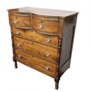 Serpentine Front Tiger Maple Chest of Drawers with Sandwich Glass Pulls