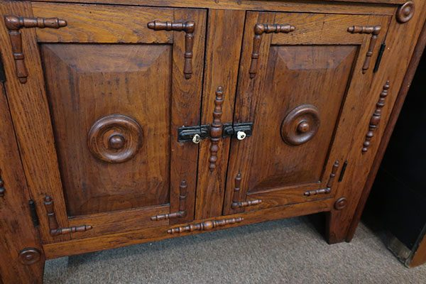 Early Ornate Oak Stepback with Wooden Peg Construction