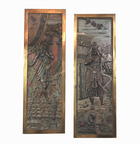 Pair of 1920's Egyptian Revival Wall Plaques
