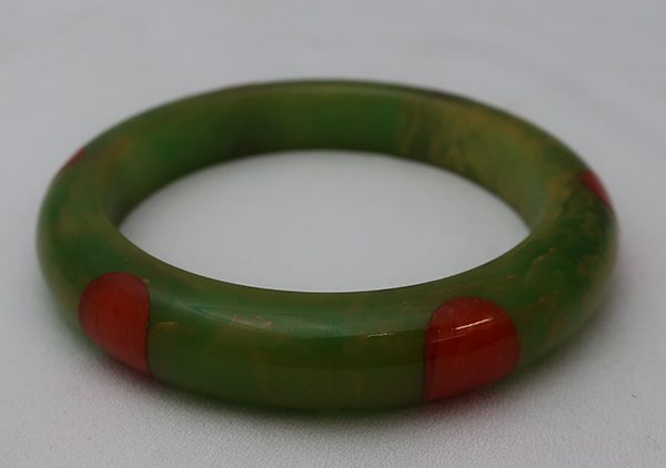 Vintage Bakelite Green with Orange Dots Bangle Bracelet