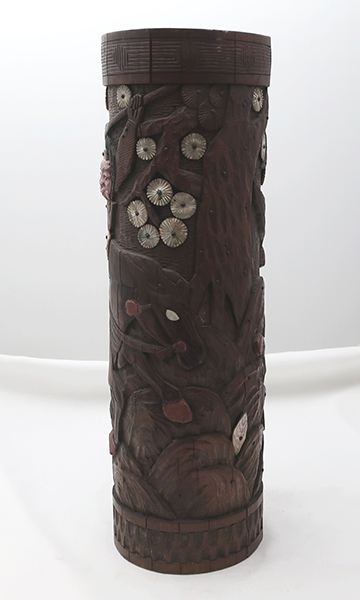 Japanese Carved Bamboo and Mother of Pearl Vase