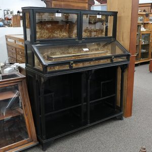 Antique 1880's Black Ebony Victorian Showcase