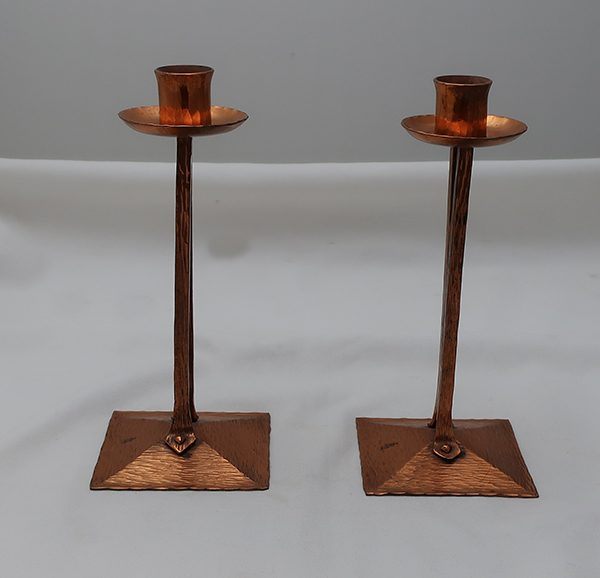 Pair of Roycroft Candle Sticks Brass Finish