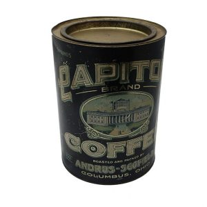 Vintage 5# Capitol Round Coffee Canister, Columbus, Ohio