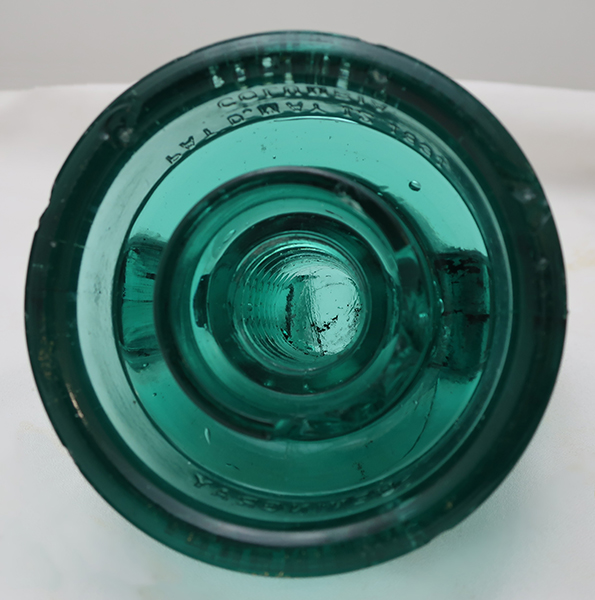 1891 Rare Large Columbia Green Glass Insulator
