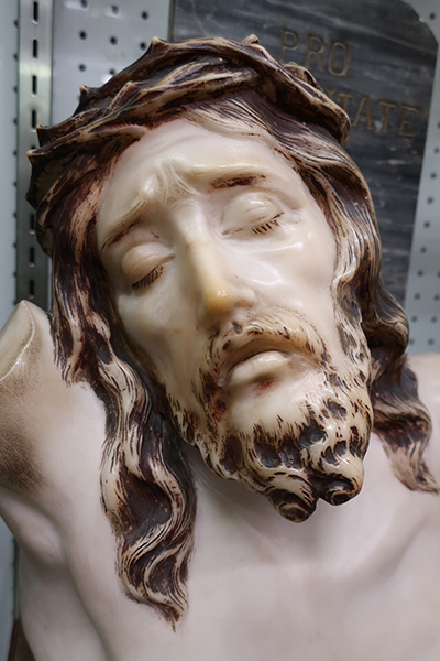 Carved Marble Religious Bust of Christ with Cross