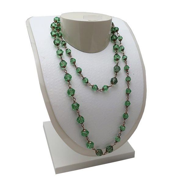 Green Vaseline Glass Bead Necklace