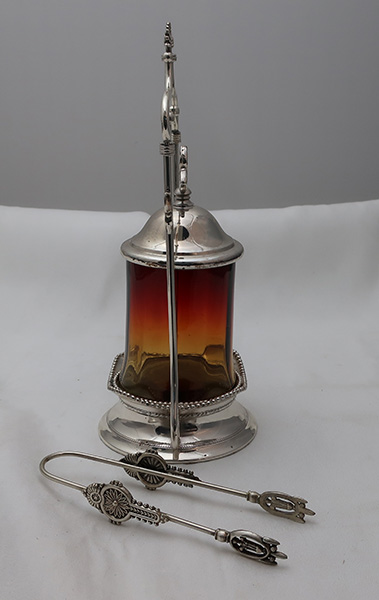 Amberina Pickle Caster in Meriden Quadruple Plate Stand with Tongs