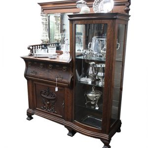 Antique Oak Sideboard Curved Glass Display Cupboard