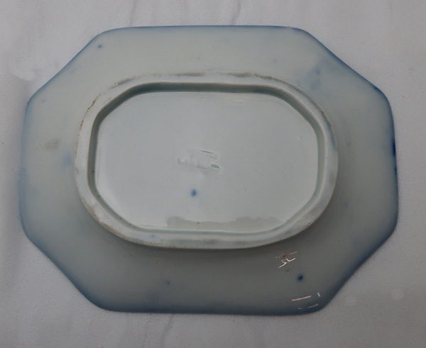 Flow Blue Tureen with Under Plate and Ladle Spoon